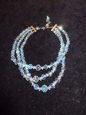 Vintage Antique Layered Necklace Multi-Tone Blue Crystal Estate Shiny Bridal