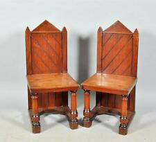 C19th VictorianPair NeoGothic Mahogany Chairs HoraceWalpole StrawberryHill Pugin