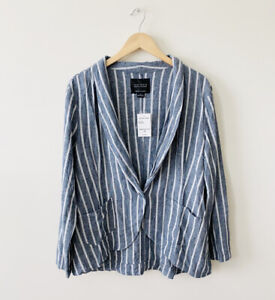 Sanctuary Navy Striped Long Sleeve Linen Blend Single Button Blazer Size XL NWT