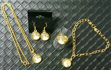 Laying White CAT glass jewelry set necklace bracelet earrings ring CTE008gs