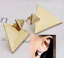 Urban Trend Minimal Gold Triangle Spike Chevron Edgy Ear Jackets Cuff Earrings