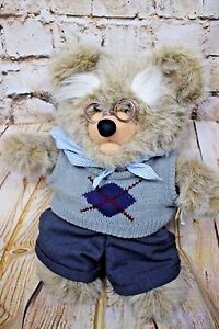 "Vintage Heartline Snuggables 19"" GRANDPA BEAR Stuffed Animal Plush 1983"