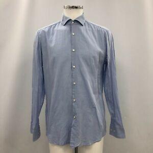 Hugo Boss Cotton Shirt Mens 16/41 Blue Long Sleeve Smart Formal Work 232964