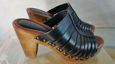 Johnston & Murphy Women's Size 6 M Black Leather Peep Toe Block Heels