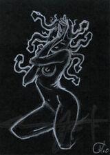 NEW ORIGINAL WarrenS Art Card ACEO Nude Medusa Crouch Posed Woman Sketch Artwork