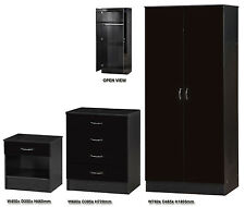 NEW Black High Gloss Two Tone 3 Piece Bedroom Set | Wardrobe | Chest | Bedside