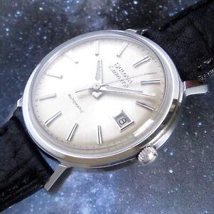 Mens Mint 1968 Bulova AEROJET 17j Swiss Automatic Stainless Vintage DATE Watch