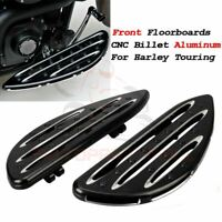 Front CNC Black Edge Cut Driver Stretched Floorboards For Harley Touring Softail