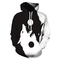 Black and White Wolf Yin Yang Balance Graphic Men Women Hoodies Jackets Shirts
