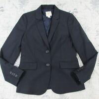 J Crew Womens Pinstripe Suiting Blazer Jacket  Navy Blue Light Wool Career 6