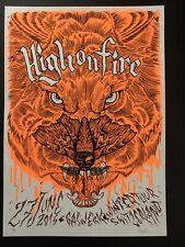 HIGH ON FIRE S/N Embossed Concert Poster Switzerland 2015 M/NM.  Metallica