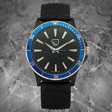 NEW Picard & Cie 9850 Men's Revolution Series Blue Bezel Silicone Casual Watch