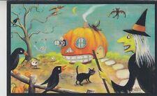 Postcard modern new holiday Halloween pumpkin Crow Witch  26/50 Limited Ed.