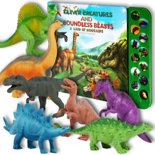 "12 Button Dinosaur Sound Book Set with 12 (7"") Realistic Dinosaur Toys"