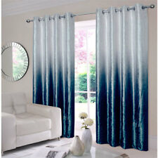 Ombre Luxury Velvet Lined Ring Top / Eyelet Curtains Grey & Blue - New In Stock