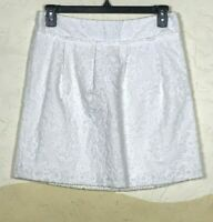 Ann Taylor LOFT Womens Size 8 Skirt White Floral Embroidered Fully Lined