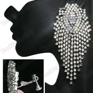 "4""long CLIP ON big HUGE CRYSTAL EARRINGS silver rhinestone GLAM glass crystals"