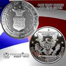 "NEW 1 TROY OUNCE . 999 FINE SILVER MILITARY PROOF COIN ""Air Force "" 1 OZ TROY"