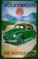 VW Beetle (green, mountains) embossed steel sign    (hi 3020)