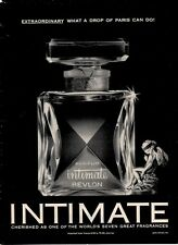 1961 Revlon PRINT AD Intimate Perfume Vintage Bottle Great Boudoir or Bath decor