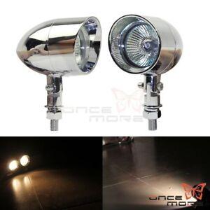 Aluminum Universal Motorcycle Bullet Visor Fog Light Lamp Mini Headlight Chrome