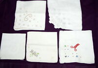 Vtg Hankie Handkerchief Lot 5 White Embroidered Cut Work Applique Mother Initial