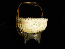 INCREDIBLE MT WASHINGTON ART GLASS BOWL IN ORIGINAL SILVER PLATED STAND - C 1880