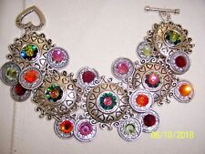 DOLCE LUNA STATEMENT SILVER TONE DISCS W/ MULTI COLOR CRYSTAL COINS BRACELET NEW