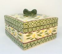 Temptations By Tara 3 Qt Old World Green Square Casserole + Lid With Bow