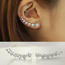 Fashion Fancy Crystal Post Stud Ear Climber Ear Clip Cuff Wrap Earrings 1 Pair