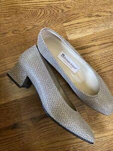 Etienne Aigner Tan Beige Printed Leather Pumps Block Heel Sarah Shoes Size 7.5M
