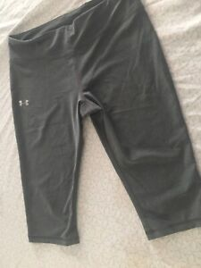 Under Armour Women's Heat Gear Compression Capri Leggings Size Large Gray Run