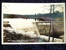 1940's RPPC Meadow Park Dam and Lake at Crossville, TN Tennessee PC Cline