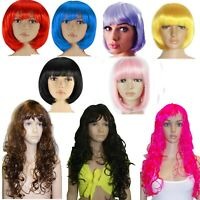 LONG / BOB NEON WIG FANCY DRESS TUTU PARTY PINK PURPLE BLUE YELLOW