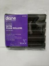 """NEW Diane #D5032 Black Satin Foam Hair Rollers 7/8""""- 10 PACK - Free Shipping"""