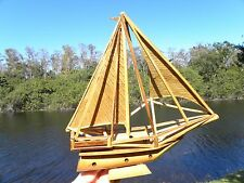 Vintage signed Nose Wood Wooden Model Bamboo Boat Ship Sail Boat Home decor
