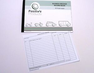 Mileage Record Book 26 Single Pages HMRC Compliant Log Book Pad