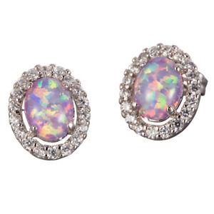 5x7 Oval Lavender Purple Fire Opal Cabochon CZ Silver Jewelry Stud Earrings