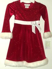 New Bonnie Jean Christmas Dress Sparkly Red with White Faux Fur Trim SZ 2T NWT