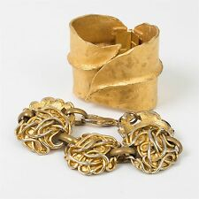 2 Vintage Costume Jewelry Gold Toned Bracelets Dauplaise & Edouard Rambaud