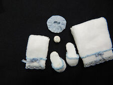 Dollhouse Miniature 1:12 Scale Bathroom Towel Soap Shower cap etc #Z310 Blue
