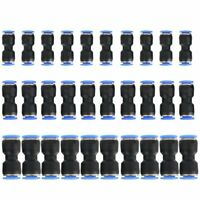 Pneumatic Push Connectors Quick Release Air Line Fittings 1/4 5/16 3/8 Tube 30pc