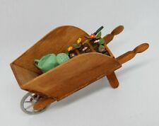 Vintage Wheelbarrow W Flowers & Watering Can Artisan Dollhouse Miniature 1:12
