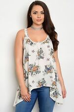 SEXY Size 1X TANK TOP SHIRT Womens Plus WHITE FLORAL Rue+ LONGER SIDES NWT NEW