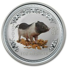 RARE ! ~ 2007 ~.999 SILVER ~1~OZ ~ YEAR of the PIG ~ PERTH MINT ~CAPSULE~$118.88