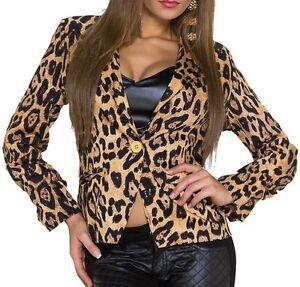 SeXy MiSS Damen Blazer Jacke tailliert M 38 L 40 leopard Braun raff Arm NEU TOP