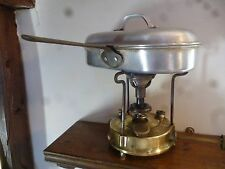 BRASS PRIMUS CAMPING STOVE No96 COMPLETE IN TIN BOX, PLUS TWO COOKWARE ITEMS