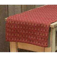 "New Primitive Colonial Coverlet Diamond Flower Wine Red Woven Table Runner 32"""