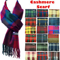Womens Mens 100% Cashmere Striped Wool Wrap Scarf Scotland Made Plaid Scarves