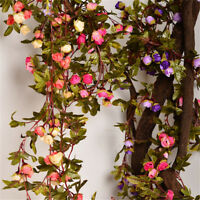 220cm Fake Silk Rose Ivy Vine Artificial Flowers With Green Leaves Hanging Decor